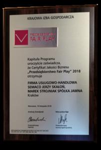 Certyfikat Przedsiebiostwo Fair Play 2018