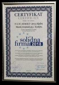 Certyfikat Solidna Firma 2018