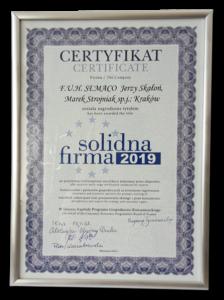 Certyfikat Solidna Firma 2019